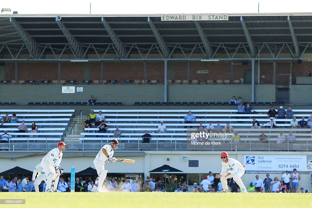A general view shows play during day three of the Sheffield Shield match between the South Australia Redbacks and the Queensland Bulls at Glenelg Oval on November 1, 2013 in Adelaide, Australia.