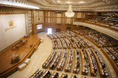 A general view shows proceedings during the last day of the ninth regular session of the Myanmar parliament in Naypyidaw on March 26 2014 Myanmar's...