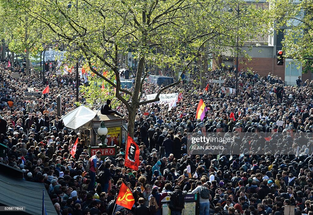 A general view shows protesters attending the traditional May Day demonstration in Paris on May 1, 2016.