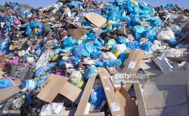 A general view shows rubbish at the Kotsiatis landfill on the outskirts of the Cypriot capital Nicosia on August 28 2017 With more visitors heading...