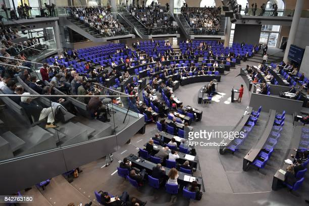 General view shows Sahra Wagenknecht top candidate of the leftwing Die Linke party for upcoming general elections giving a speech during a session at...