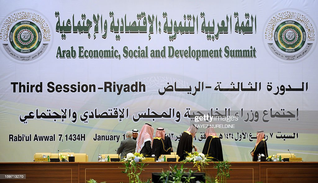 A general view shows Saudi staff prepare for the meeting hall of the Arab Foreign Ministers on the eve of the third session of the Arab Economic, Social and Development Summit held in Riyadh on January 19, 2013. Saudi Arabia is due to host the Arab Economic summit for the leaders on January 21 and 22. AFP PHOTO/FAYEZ NURELDINE