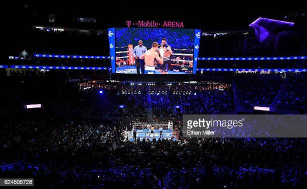 A general view shows Sergey Kovalev and Andre Ward in the third round of their light heavyweight championship bout at TMobile Arena on November 19...