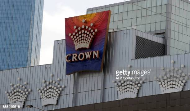 A general view shows signage around the Crown Casino in Melbourne on October 26 2017 Gambling giant Crown has strongly refuted allegations by an...
