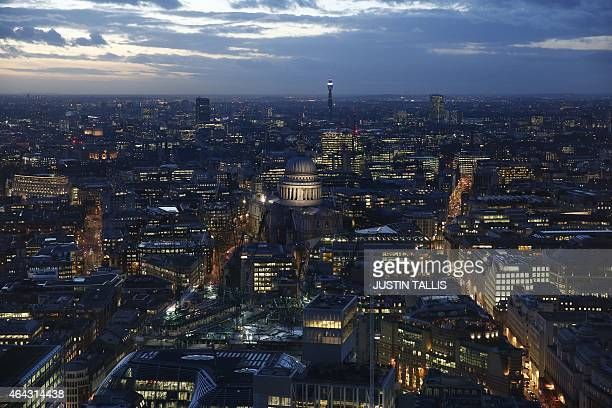 A general view shows St Pauls Cathedral seen from the Sky Garden of the Walkie Talkie Tower venue of the ELLE Style Awards 2015 in London on February...