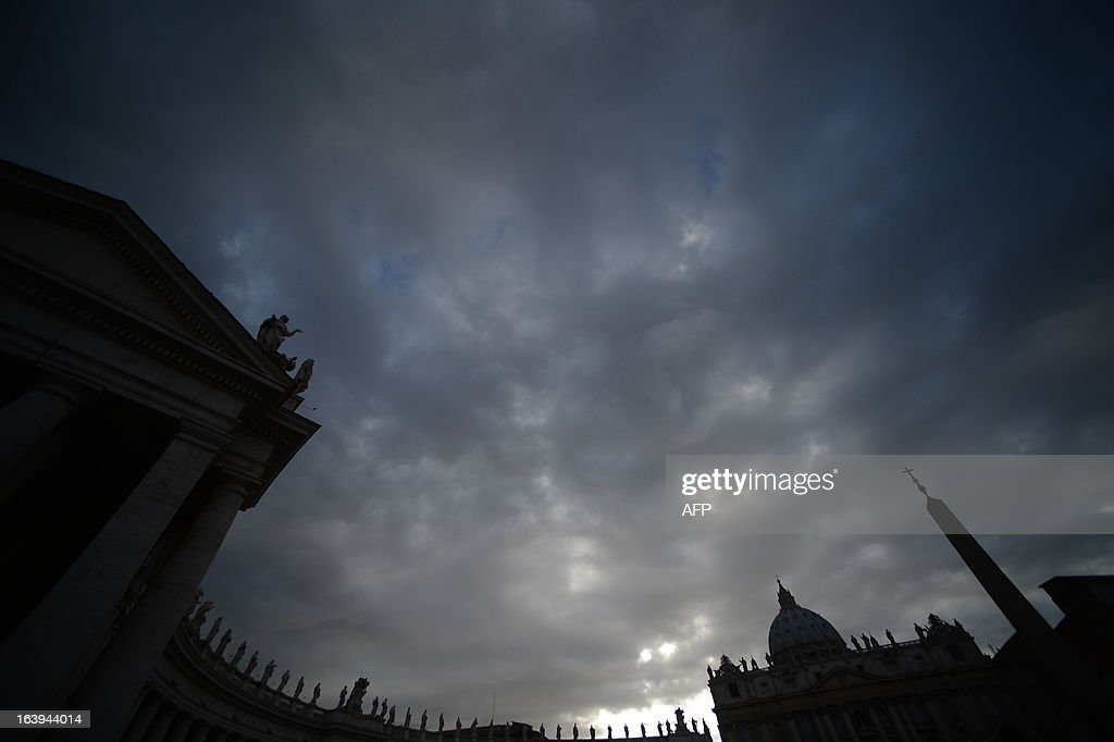 A general view shows St Peter's square and the colonnade on March 18, 2013 at the Vatican, on the eve of Pope Francis inauguration mass. The leader of the world's 1.2 billion Catholics will be formally enthroned tomorrow at a mass in St Peter's Square, with city authorities preparing for an influx of up to a million people to Rome.