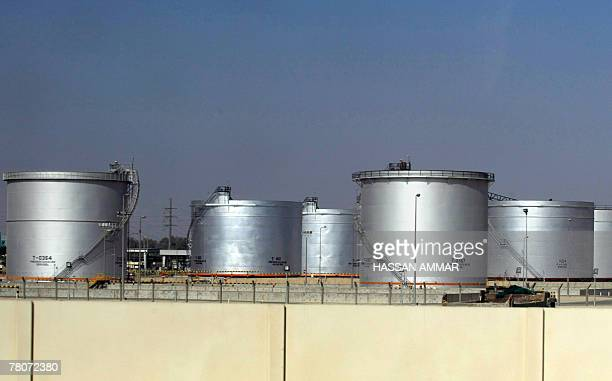 A general view shows tanks at the Saudi Aramco oil facility in Dammam city 450 kms east of the Saudi capital Riyadh 23 November 2007 Skyrocketing oil...