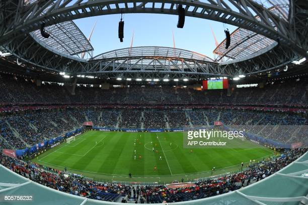 A general view shows the 2017 Confederations Cup final football match between Chile and Germany at the Saint Petersburg Stadium in Saint Petersburg...