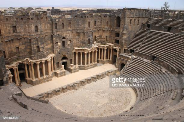 A general view shows the ancient Roman amphitheatre of Bosra alSham which is listed as a UNESCO World heritage site in the southern Syrian province...
