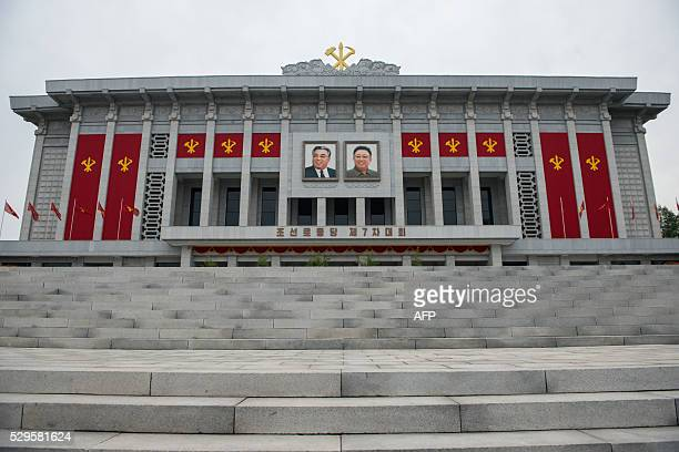 A general view shows the April 25 Palace the venue of the 7th Workers Party Congress in Pyongyang on May 9 2016 North Korean leader Kim JongUn was on...