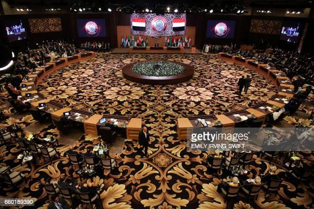 TOPSHOT CORRECTION A general view shows the Arab League summit in the Jordanian Dead Sea resort of Sweimeh on March 29 2017 Arab leaders looked to...