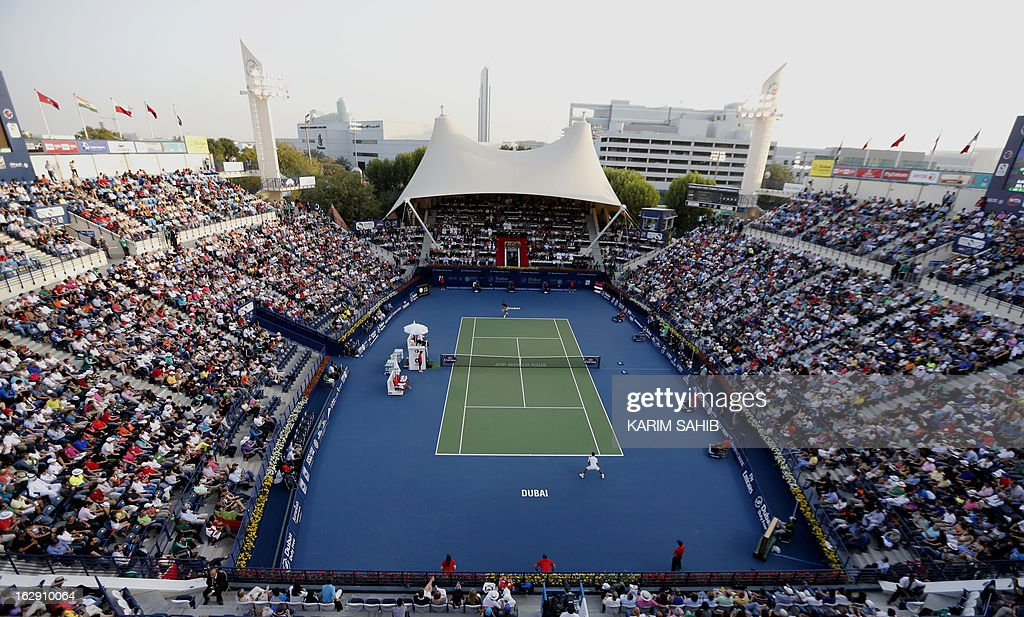 A general view shows the ATP Dubai Open semi-final tennis match between Serbia's Novak Djokovic and Argentina's Juan Martin Del Potro in the Gulf emirate on March 1, 2013.