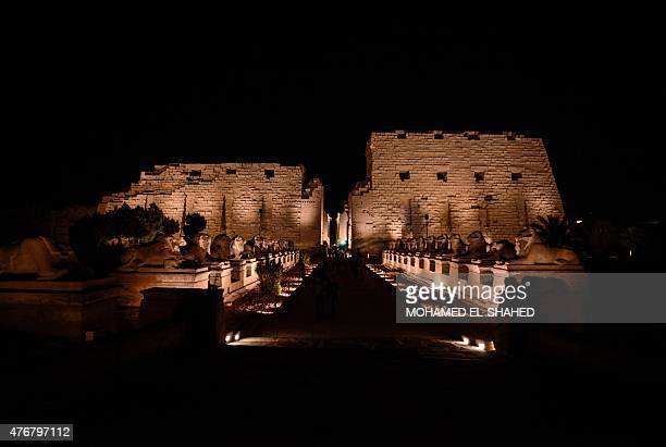 A general view shows the avenue of Sphinxes leading to the Temple of Amun at the Karnak temple complex in Luxor a town 700 kilometres south of the...
