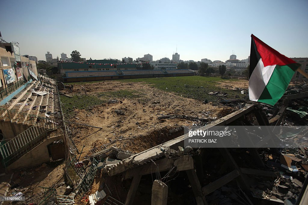 A general view shows the bombed Palestine football stadium in Gaza City on November 28, 2012. The stadium was bombed by the Israeli airforce during a conflict between the ruling Hamas party and the Israeli military between 14 and 21 November 2012.