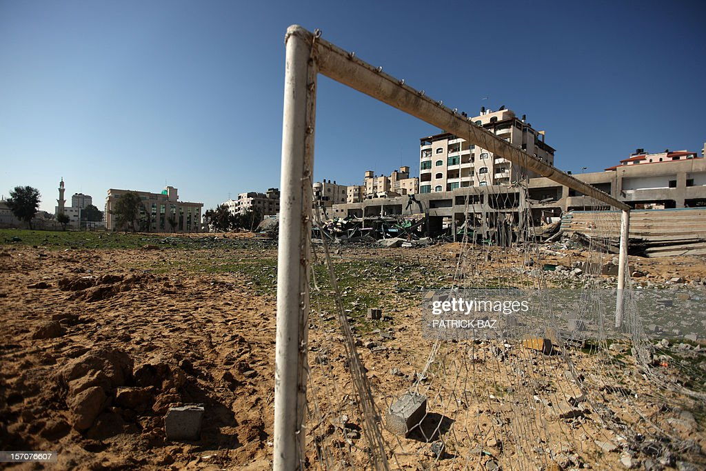 A general view shows the bombed Palestine football stadium in Gaza City on November 28, 2012. The stadium was bombed by the Israeli airforce during a conflict between the ruling Hamas party and the Israeli military between 14 and 21 November 2012. AFP PHOTO / PATRICK BAZ