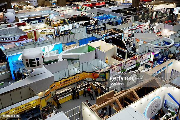 A general view shows the boothes at the World Trade Center during the Computex tech show in Taipei on June 4 2014 More than 1500 exhibitors including...