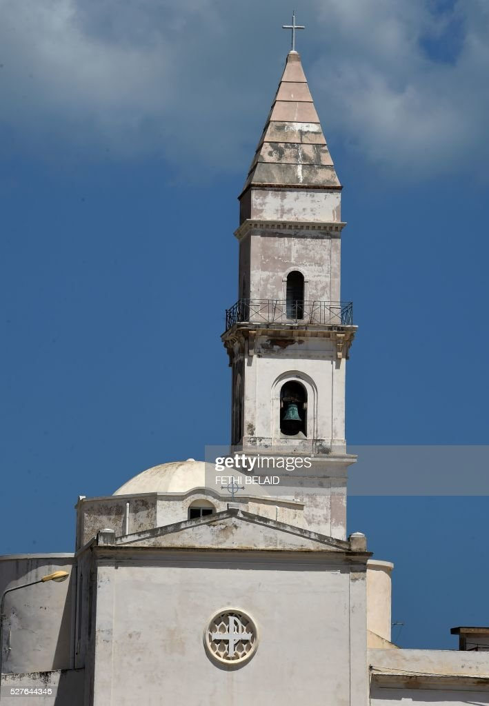 A general view shows the Church of Saint Augustine and Saint Fid��le La Goulette near the port of La Goulette in the capital Tunis on May 3, 2016. The church is run by Sicilian Capuchins in the Italian neighbourhood of Little Sicily in Tunis. / AFP / FETHI