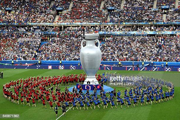 TOPSHOT A general view shows the closing ceremony ahead the Euro 2016 final football match between Portugal and France at the Stade de France in...