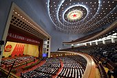A general view shows the closing of the 3rd Session of the 12th National People's Congress at the Great Hall of the People in Beijing on March 15...