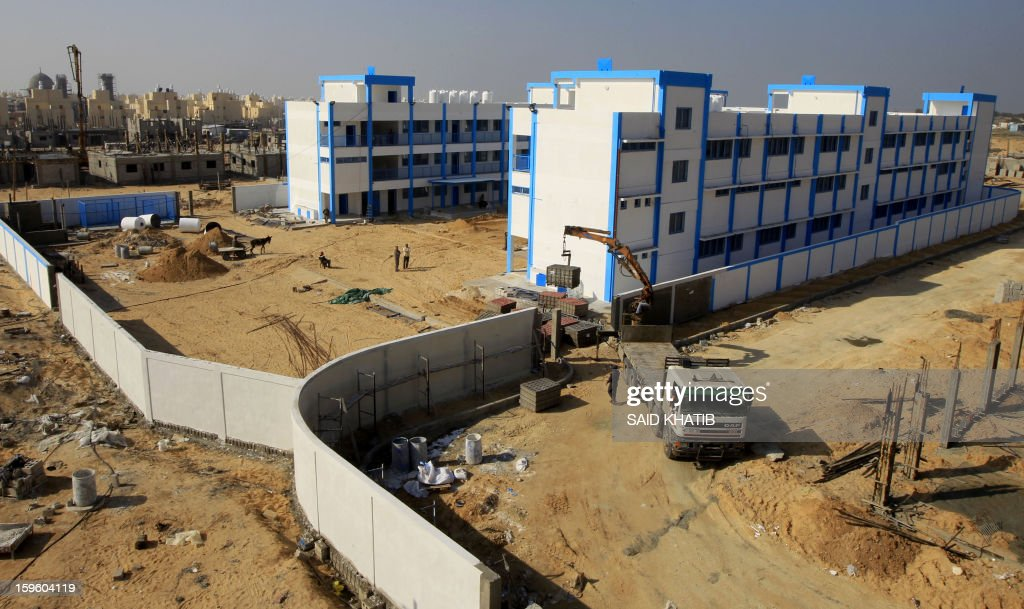 A general view shows the construction site of a school project funded by the United Nations Relief and Works Agency for Palestine Refugees (UNRWA) in Rafah in the southern Gaza Strip on January 17, 2013. The European Union said it was speeding up disbursement of aid to help ensure there is no interruption in its support for the Palestinian Authority and UN refugee programmes.