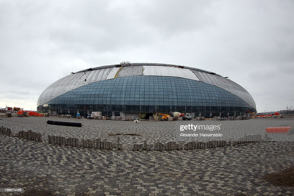 A general view shows the construction site of the 'Bolshoi' Olympic ice dome on February 10, 2012 in Sochi, Russia. The design of the ice dome is based on an image of a frozen drop of water and will shine silver when completed in May 2012. The venue will be used as a multi-functional sports, concerts and entertainment arena after the Games.