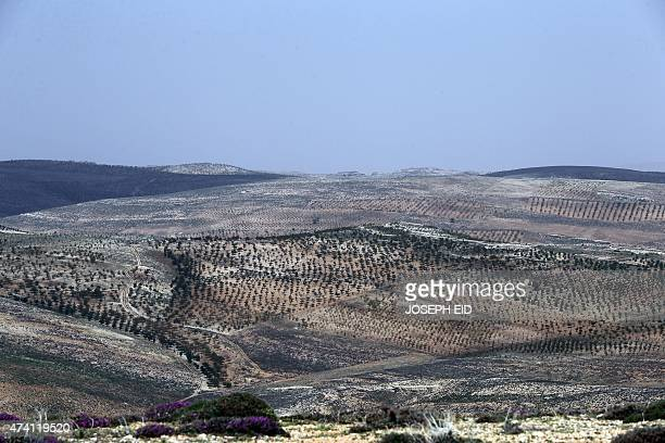 A general view shows the countryside of Arsal from the Hezbollah controlled area of Dahr alHawa hill in the Lebanese side of the Qalamun mountains on...