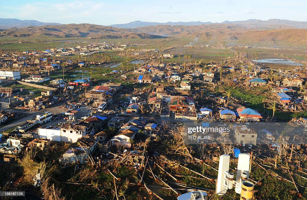 A general view shows the destruction caused by Typhoon Bopha in the town of Cateel, Davao Oriental on December 11, 2012. The United Nations launched a 65 million USD global appeal on December 10 to help desperate survivors of a typhoon that killed more than 600 people and affected millions in the southern Philippines. AFP PHOTO / TED ALJIBE
