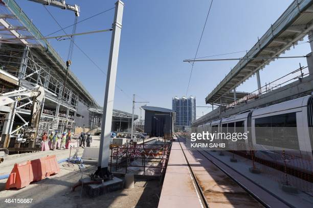 A general view shows the Dubai tramway project under construction as the first tram was delivered by French company 'Alstom' to Dubai on January 21...
