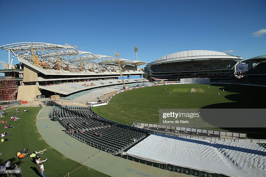 A general view shows the eastern and southern stands during day one of the Sheffield Shield match between the Redbacks and the Warriors at Adelaide Oval on November 13, 2013 in Adelaide, Australia.