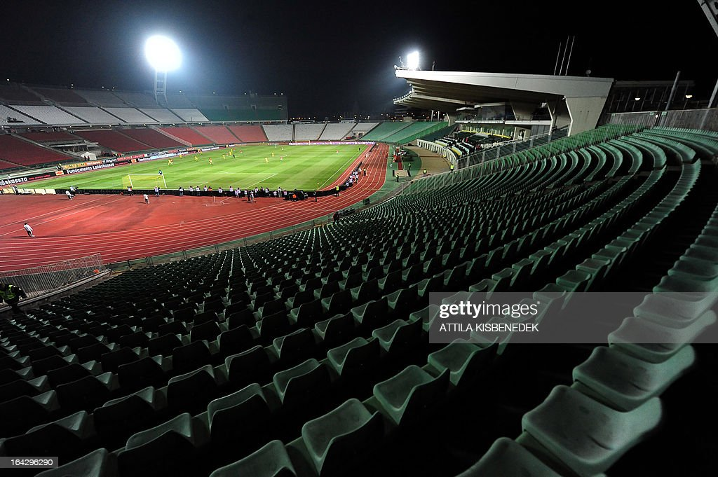 A general view shows the empty statium during the Hungary vs Romania FIFA 2014 World Cup qualifying football match in Budapest, on March 22, 2013. FIFA ordered Hungary to play the 2014 World Cup qualifier match behind closed doors after fans hurled anti-Semitic abuse during a friendly match with Israel in August 2012.