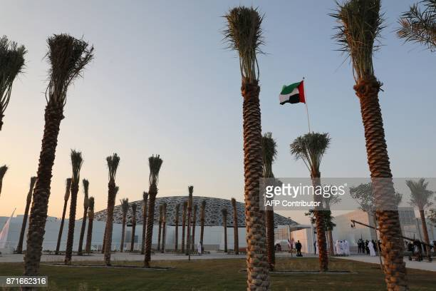 A general view shows the exterior of part of the Louvre Abu Dhabi Museum designed by French architect Jean Nouvel on November 8 2017 prior to the...