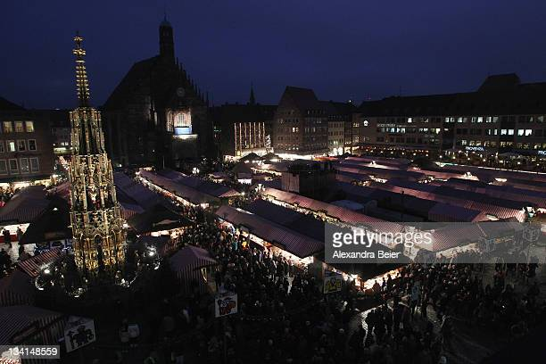 A general view shows the famous Nuremberg Christmas market before the opening ceremony on November 25 2011 in Nuremberg Germany