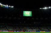 A general view shows the final score of the semifinal football match between Brazil and Germany at The Mineirao Stadium in Belo Horizonte during the...