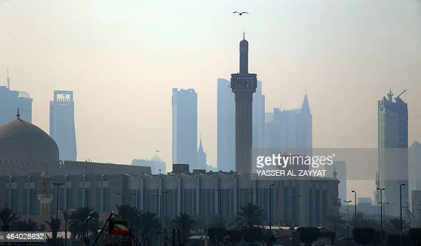 A general view shows the Grand Mosque in Kuwait City during a sandstorm on February 21 2015 A heavy sandstorm blanketed Kuwait lowering the...