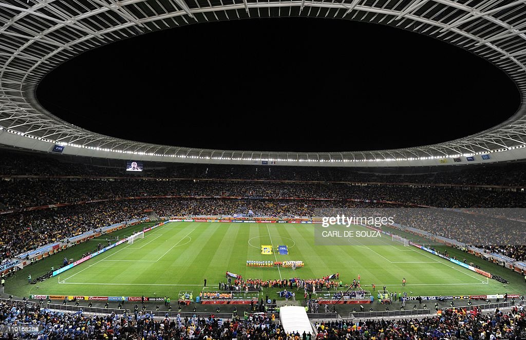 A general view shows the Green Point Stadium in Cape Town before the start of the 2010 World Cup group A first round football match between Uruguay...
