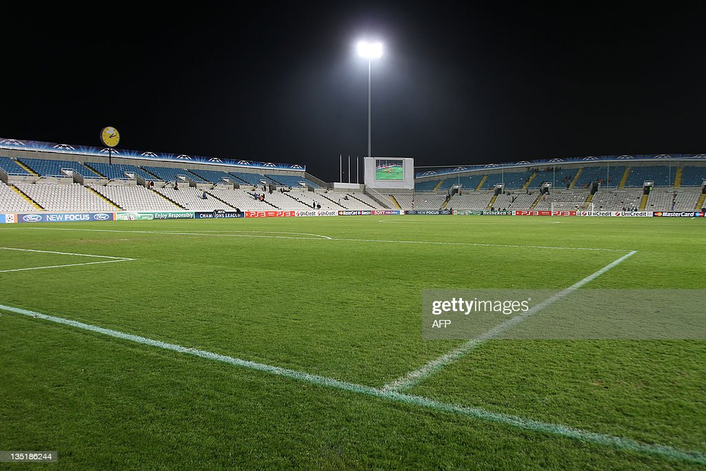 A general view shows the GSP Stadium in the Cypriot capital Nicosia after the UEFA Champions League group G football match between APOEL and Shakhtar...