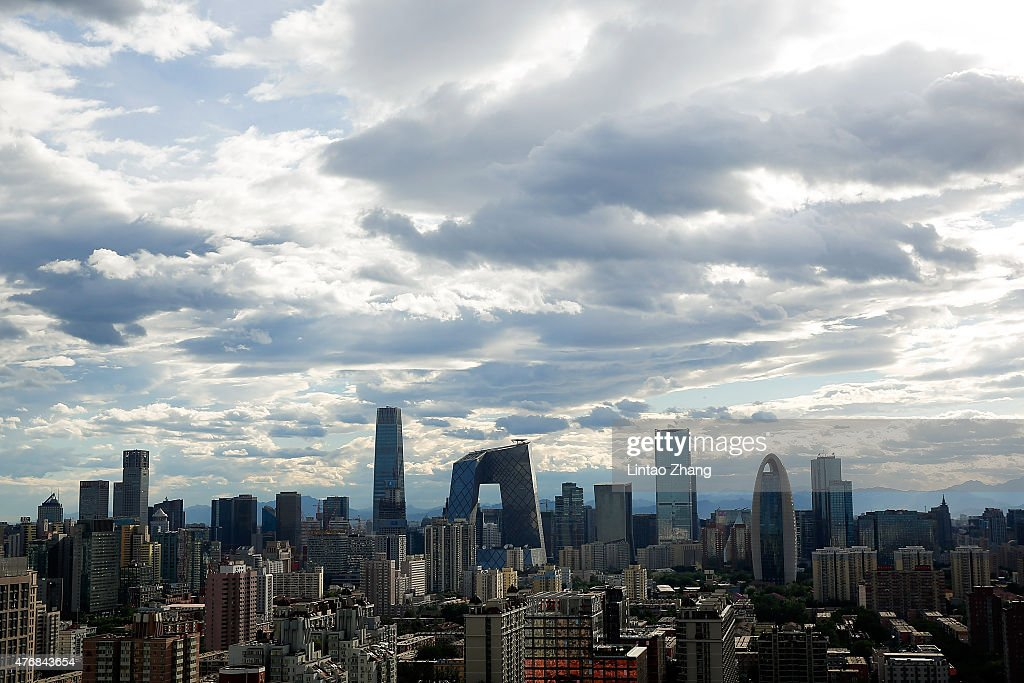 A general view shows the headquarter of China Central Television amid the Beijing skyline at central business district on June 12 2015 in Beijing...
