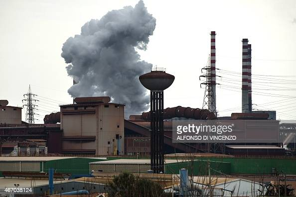 IDE A general view shows the Ilva steel plant in Taranto on March 18 2015 The site in Taranto in the Puglia region of southern Italy which employs...