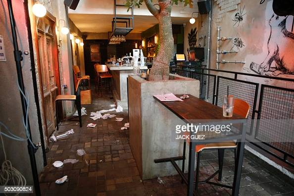 A general view shows the inside of a pub after an unidentified gunman opened fire killing two people and wounding five others in the Israeli city of...