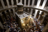 A general view shows the interior of the Church of the Holy Sepulchre during the Palm Sunday Easter procession in Jerusalem's Old City on April 13...