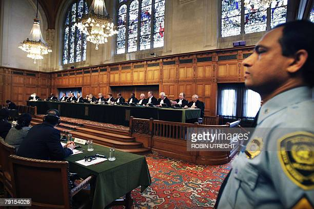 A general view shows the International Court of Justice in The Hague 22 January 2008 during the second day of the hearing in the trial of Djibouti...