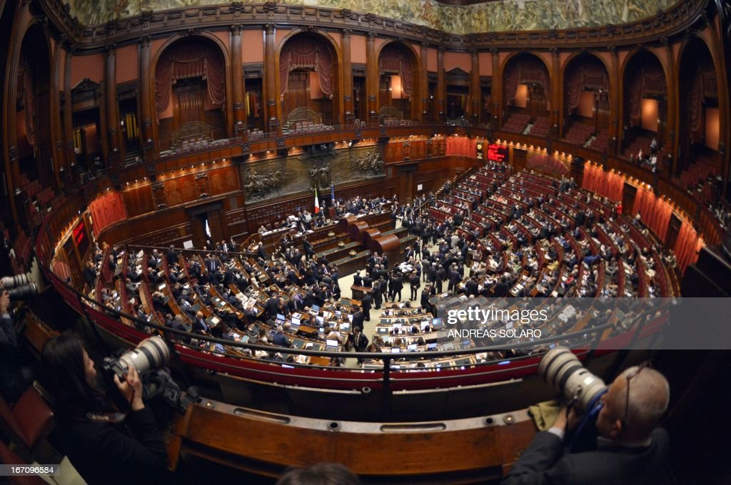 A general view shows the Italian Parliament during the election of Italy's President on April 20, 2013 in Rome. Italy's 87-year-old President Giorgio Napolitano on Saturday said he would run for a second term despite earlier ruling out the prospect, following an appeal from the main parties to help defuse an increasingly tense political crisis.'I consider it necessary to offer my availability,' Napolitano said in a statement, as bickering lawmakers prepared for a sixth round of voting in parliament that he is now expected to win by a large margin.