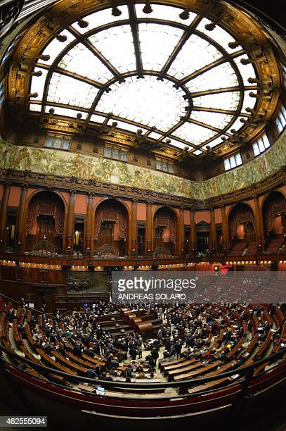 A general view shows the Italian Parliament in Rome on January 31 during the fourth round of vote for the election of a new President after Giorgio...