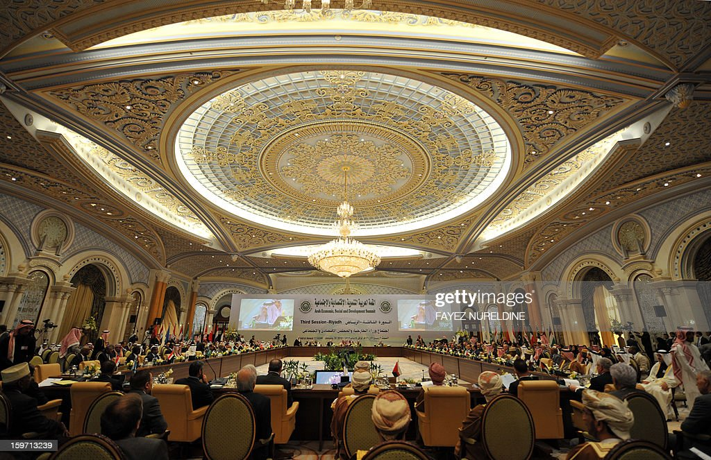 A general view shows the meeting hall of the Arab Foreign Ministers on the eve of the third session of the Arab Economic, Social and Development Summit held in Riyadh on January 19, 2013. Saudi Arabia is due to host the Arab Economic summit for the leaders on January 21 and 22.