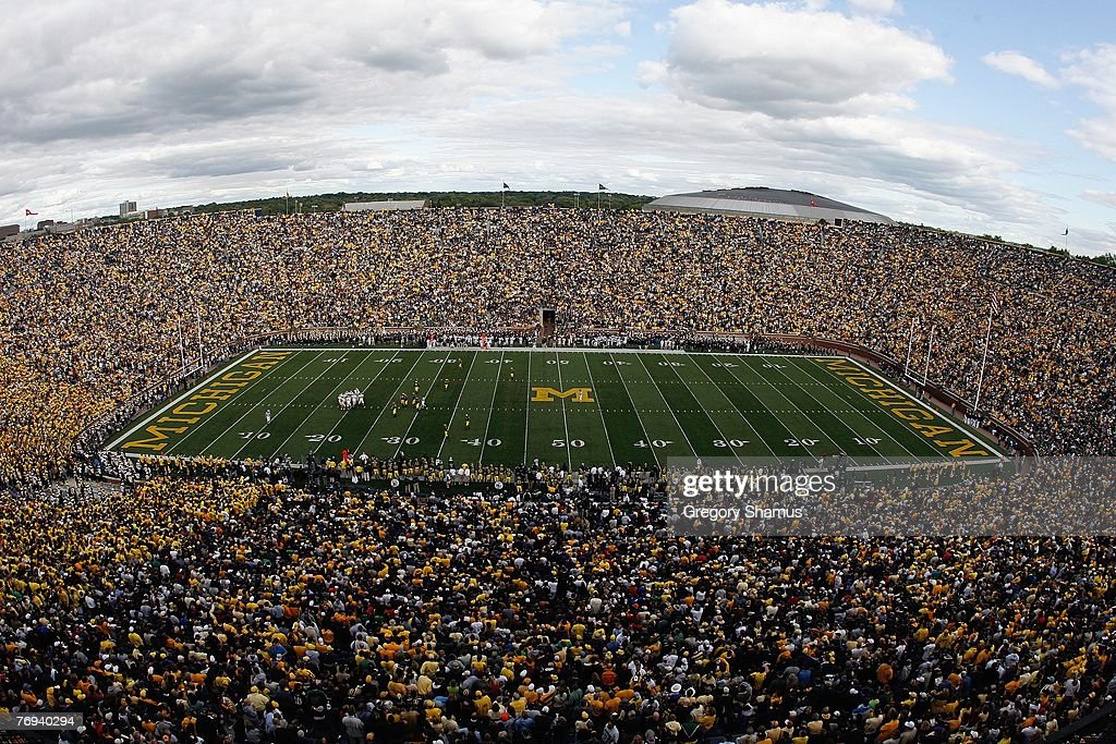 A general view shows the Michigan Wolverines game against the Notre Dame Fighting Irish on September 15 2007 at Michigan Stadium in Ann Arbor...