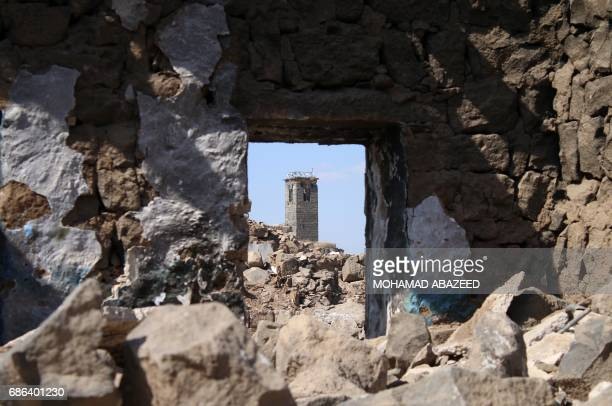 A general view shows the minaret of the Omari mosque in the ancient city of Bosra alSham which is listed as a UNESCO World heritage site in the...