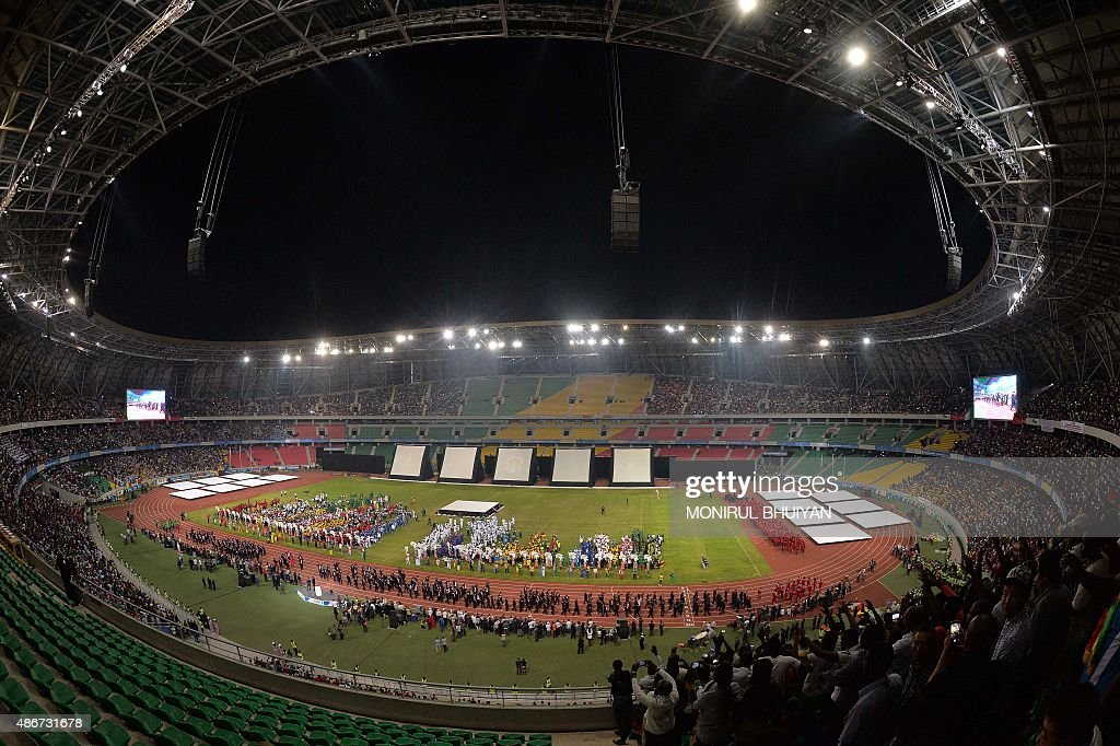 A general view shows the New Kintele stadium during the opening ceremony of the 11th Africa Games in Brazzavile on September 4 2015 AFP PHOTO/MONIRUL...
