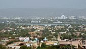 A general view shows the Niger River flowing thourgh the Malian capital Bamako on March 8 2015 Two civilians and a UN peacekeeper were killed as...