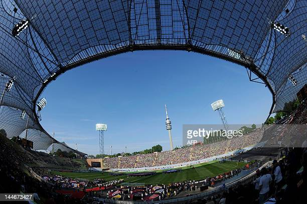 A general view shows the Olympiastadion during the opening ceremony of the UEFA Women's Champions League final football match of Olympique Lyonnais...
