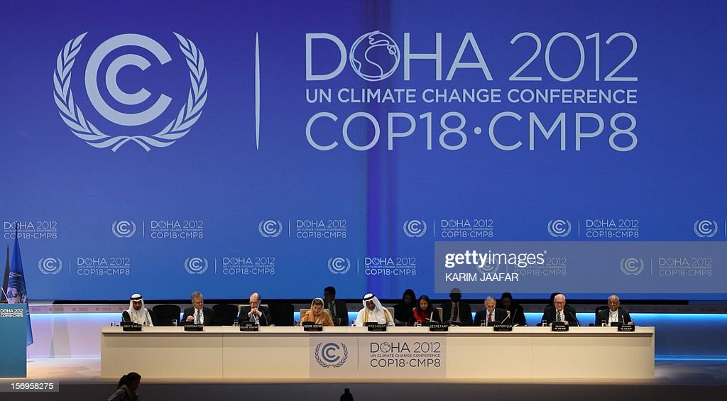 A general view shows the opening ceremony of the 18th United Nations (UN) climate change conference in Doha on November 26, 2012. Nearly 200 world nations launched a new round of talks in Doha to review commitments to cutting climate-altering greenhouse gas emissions. AFP PHOTO / AL-WATAN DOHA / KARIM JAAFAR == QATAR OUT ==